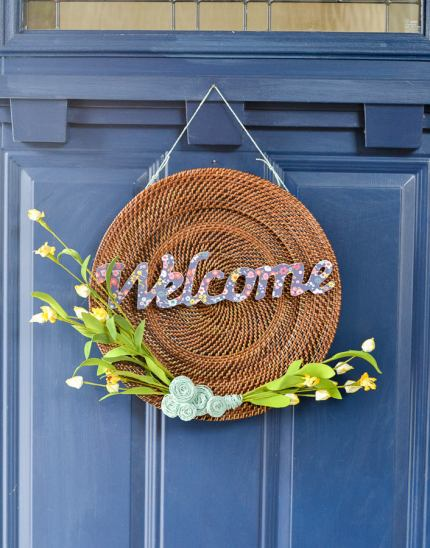 upcycled-DIY-spring-wreath-from-thrirft-store-find-and-yellow-flowers-and-welcome-cut-out-2